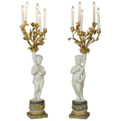 Pair of Marble and Alabaster Candelabras by Henry Dasson in the Louis XVI Style