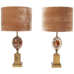 Pair of Marble and Brass Maison Charles Table Lamps, Paris, 1960s