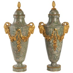 Pair of Marble and Gilt Bronze Cassolettes