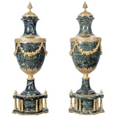 Pair of Marble and Gilt Bronze Cassolettes, France, Late 19th Century
