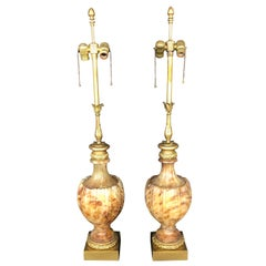 Pair of Marble and Onyx Lamps