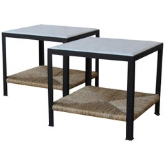 Pair of Marble and Rush Side Tables