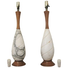 Pair of White Marble and Brown Wood Table Lamps