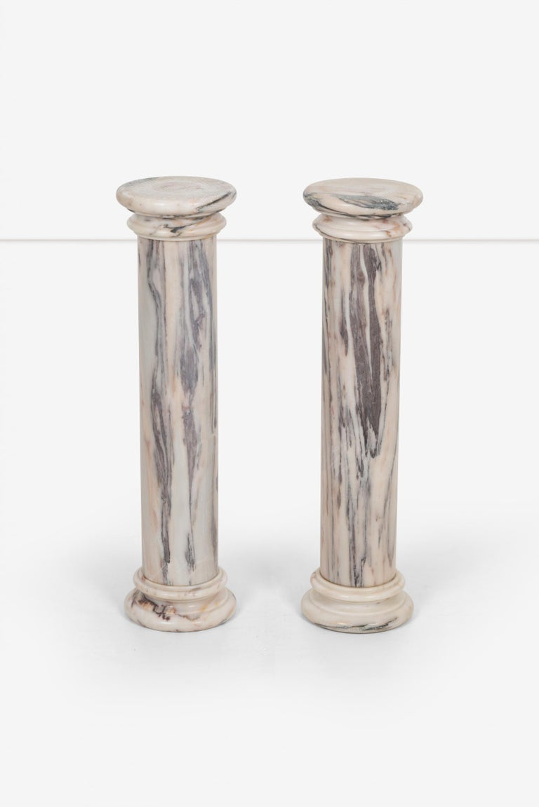 Mid-Century Modern Pair of Marble Architectural Display Columns in Calacatta Pink Quarried in Italy For Sale