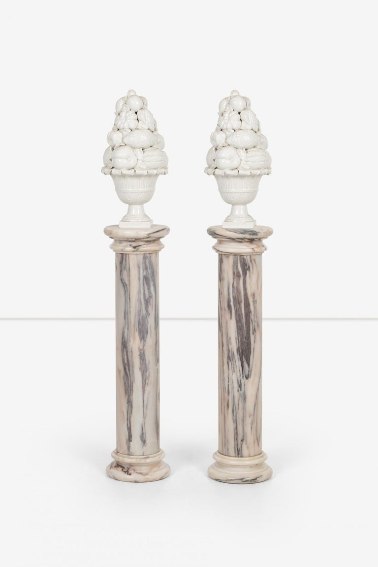Italian Pair of Marble Architectural Display Columns in Calacatta Pink Quarried in Italy For Sale