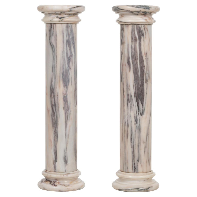 Pair of Marble Architectural Display Columns in Calacatta Pink Quarried in Italy For Sale