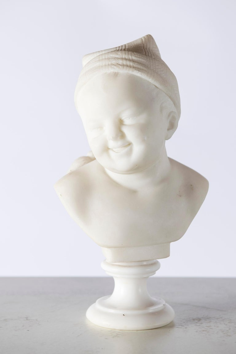 Italian Pair of Marble Baby Busts, Italy, circa 1890 For Sale