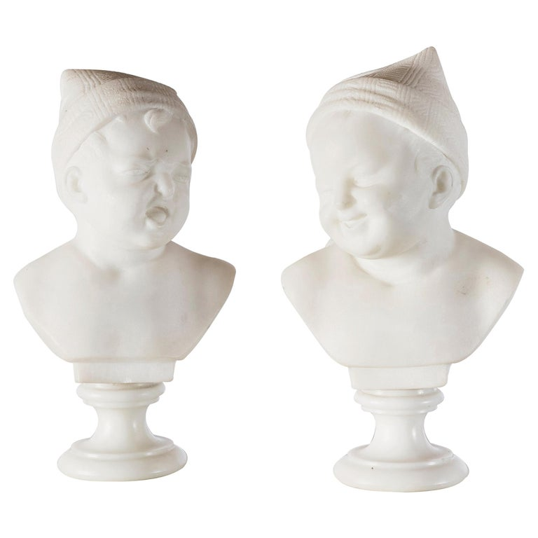 Pair of Marble Baby Busts, Italy, circa 1890 For Sale