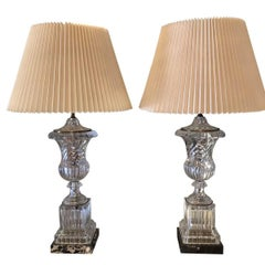 Pair of Marble Base Paul Hanson Baccarat Style Urn Table Lamps