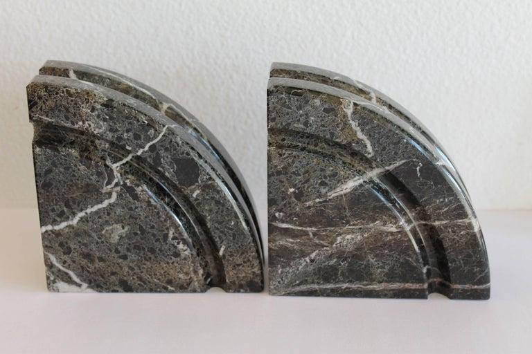 Pair of emperador dark marble bookends. They measure 6