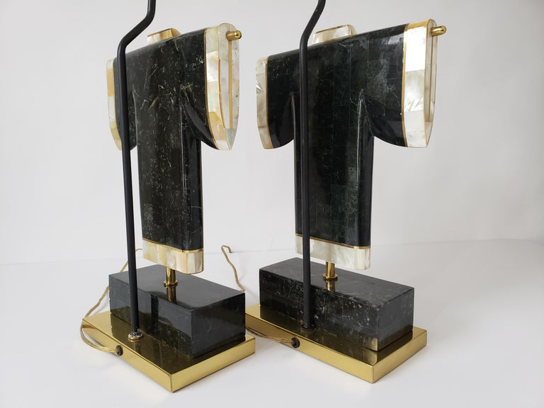 Pair of Marble, Brass and Capiz Kimono Table Lamp, USA, 1980s For Sale 4