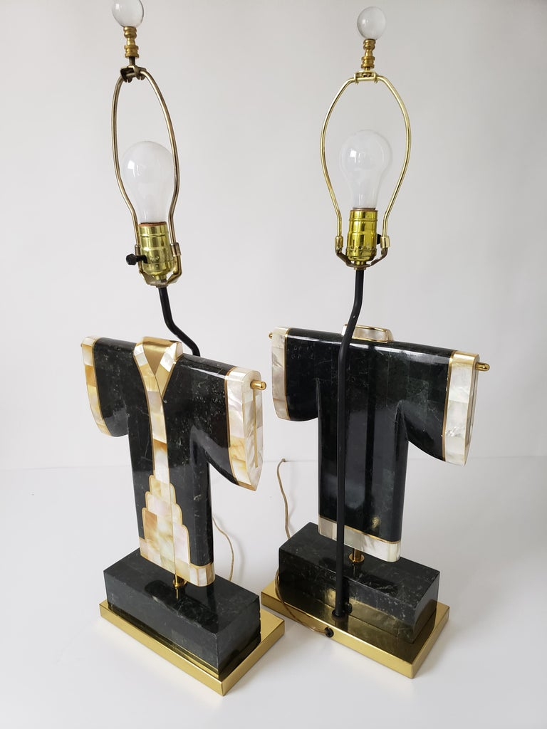 Pair of Marble, Brass and Capiz Kimono Table Lamp, USA, 1980s For Sale 5