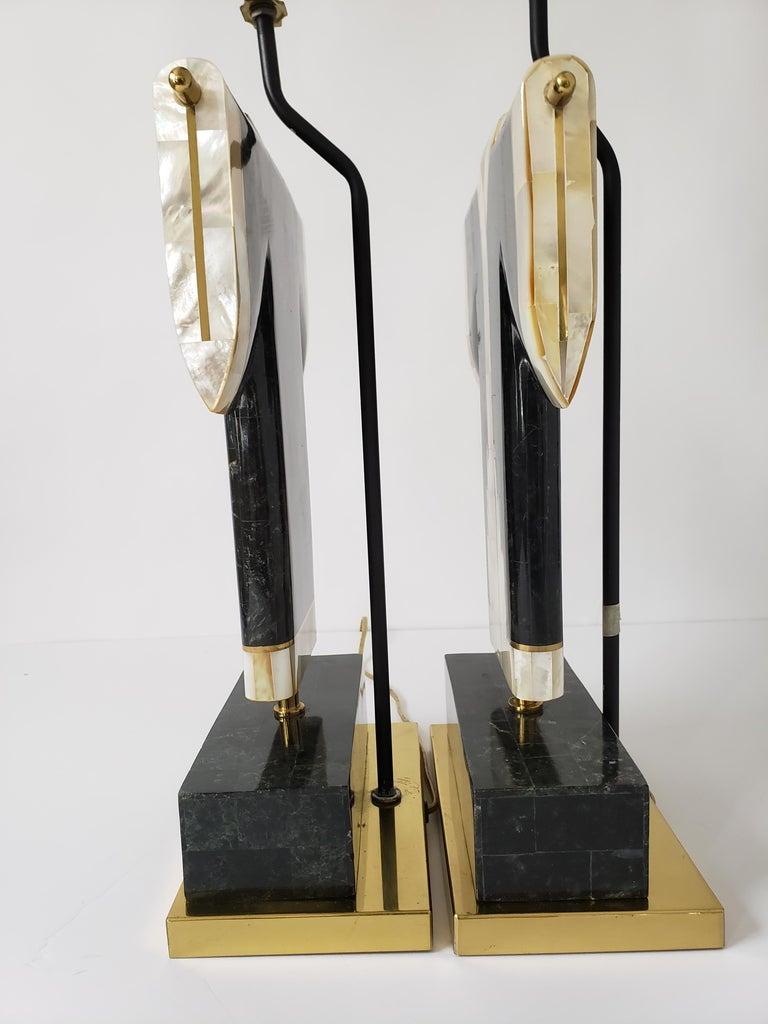 Pair of Marble, Brass and Capiz Kimono Table Lamp, USA, 1980s For Sale 6