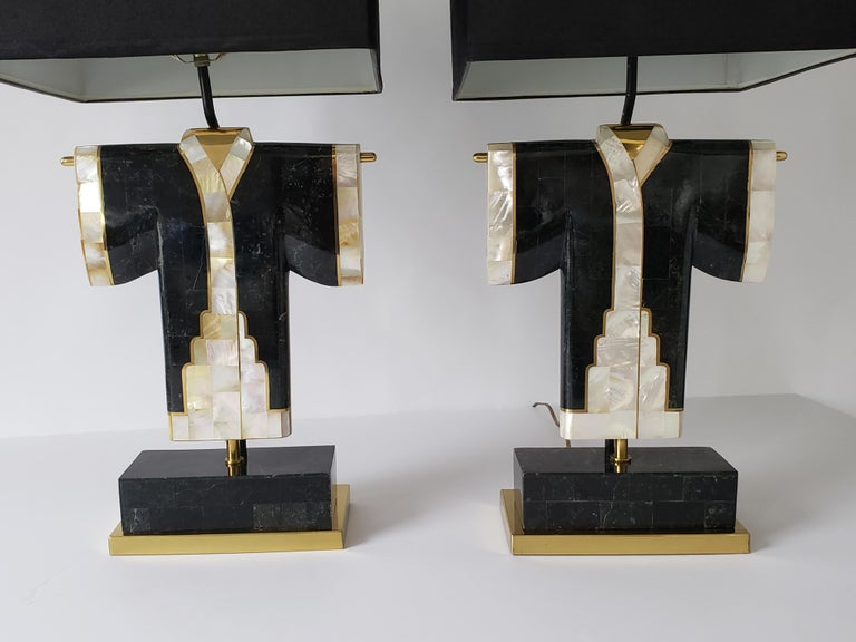 Pair of Marble, Brass and Capiz Kimono Table Lamp, USA, 1980s For Sale 7