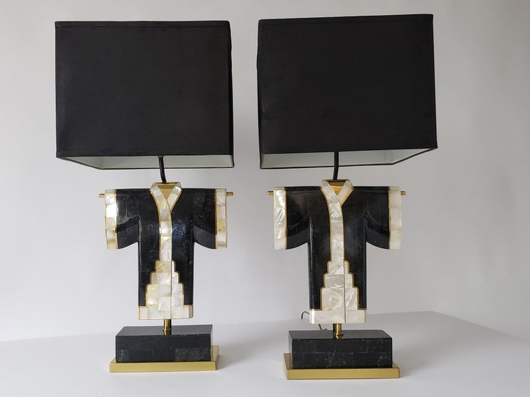 Pair of Marble, Brass and Capiz Kimono Table Lamp, USA, 1980s For Sale 8