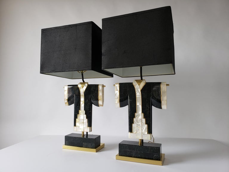 Pair of Marble, Brass and Capiz Kimono Table Lamp, USA, 1980s For Sale 9