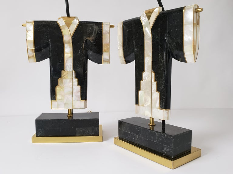 Rare pair of Japanese kimono table lamp from Maitland Smith .   Well executed lighting art piece with prime quality material and superb craftsmanship.   Selected dark green veined marble, fine brass and capiz shell.   One regular E26 socket
