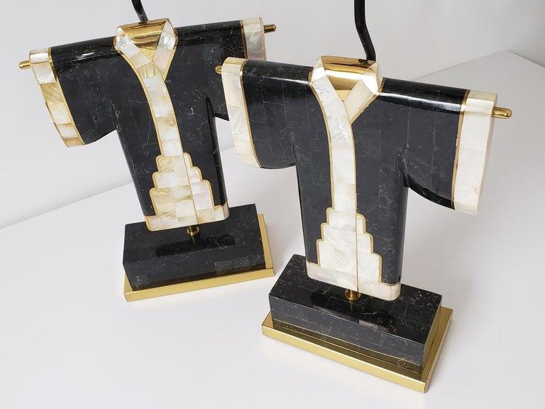American Pair of Marble, Brass and Capiz Kimono Table Lamp, USA, 1980s For Sale