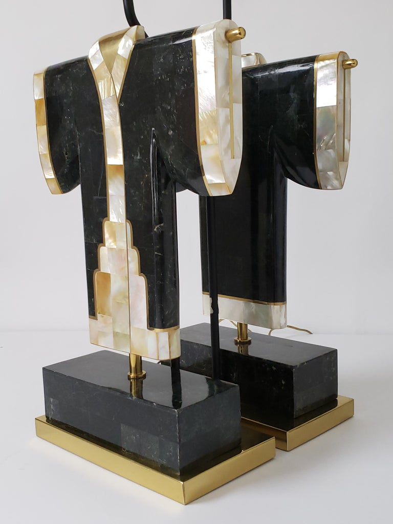 Pair of Marble, Brass and Capiz Kimono Table Lamp, USA, 1980s In Good Condition For Sale In St- Leonard, Quebec