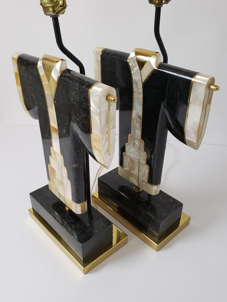 Late 20th Century Pair of Marble, Brass and Capiz Kimono Table Lamp, USA, 1980s For Sale