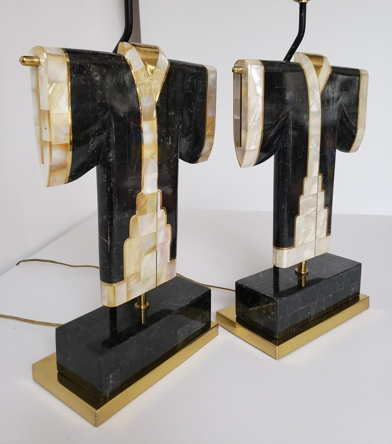 Pair of Marble, Brass and Capiz Kimono Table Lamp, USA, 1980s For Sale 2