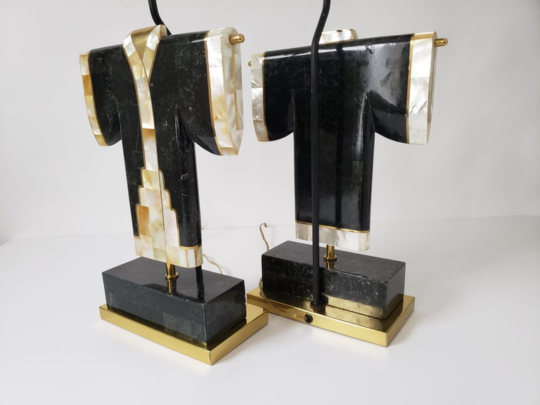 Pair of Marble, Brass and Capiz Kimono Table Lamp, USA, 1980s For Sale 3