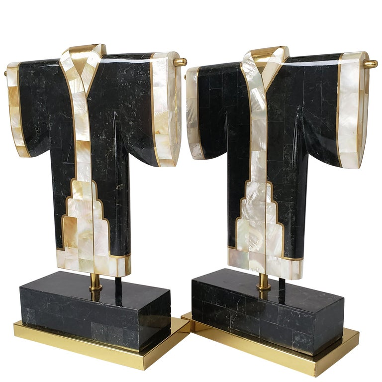 Pair of Marble, Brass and Capiz Kimono Table Lamp, USA, 1980s For Sale