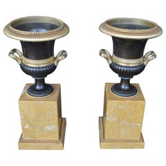 Pair of Marble Campagna Urn Ornaments