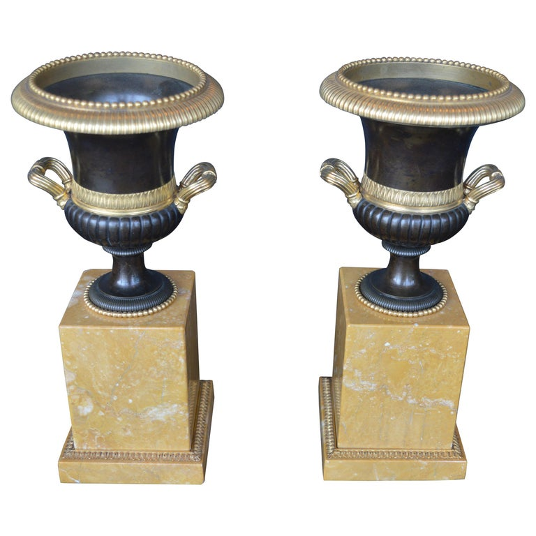 Pair of Marble Campagna Urn Ornaments For Sale