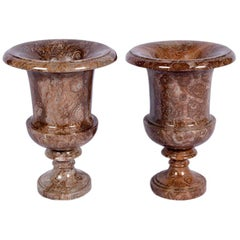 Pair of Marble Campana Urns