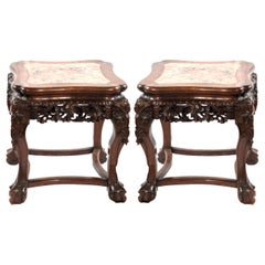 Pair of Marble Captured Top Chinese Stands, circa 1900