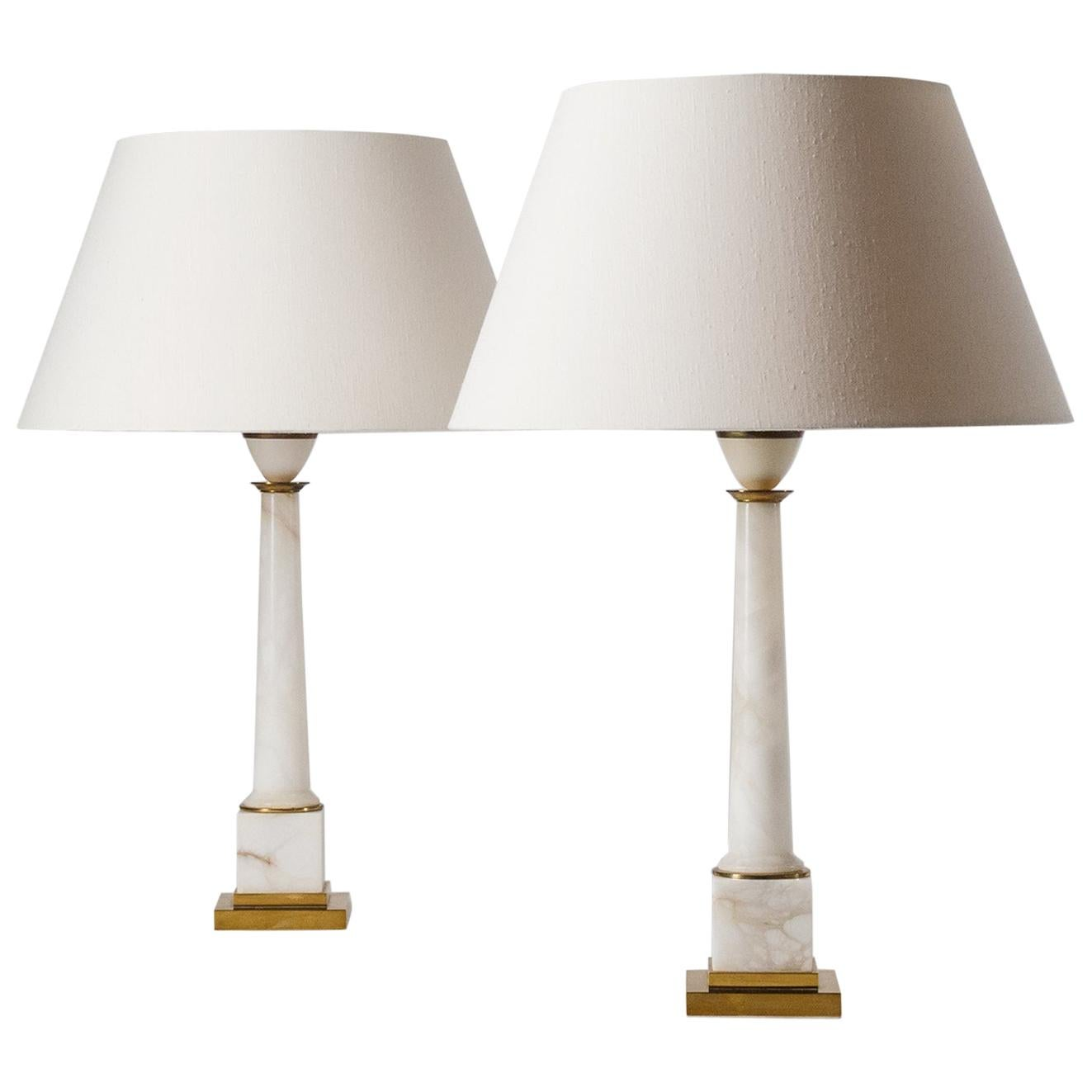 Pair of Marble Column Table Lamps, circa 1970