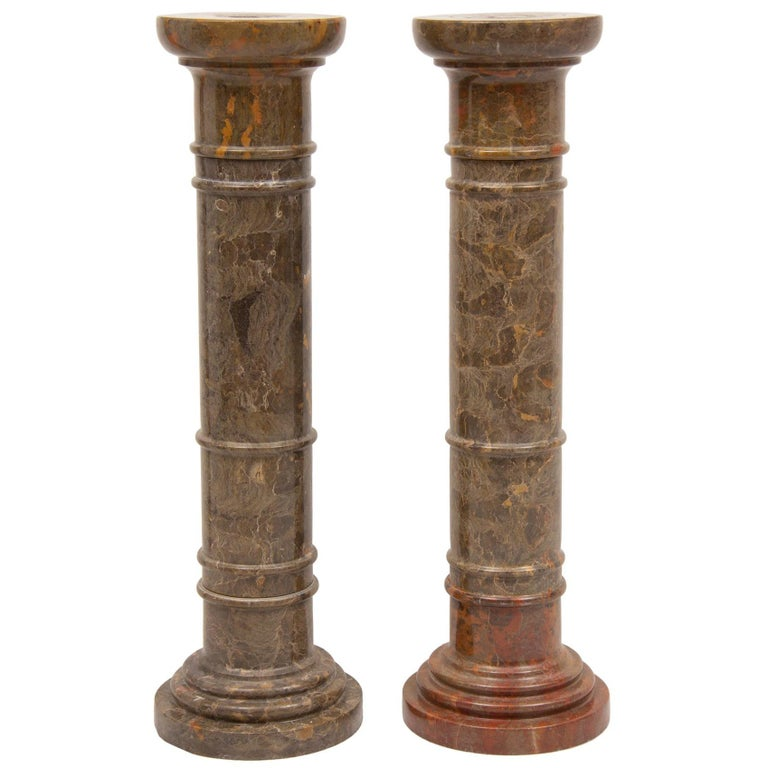 Pair of Marble Columns For Sale