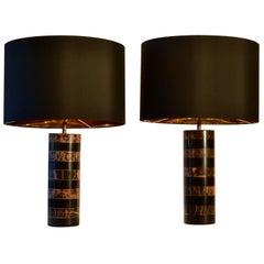Pair of Marble Cylinder Table Lamps Old Pink and Black 1970s French
