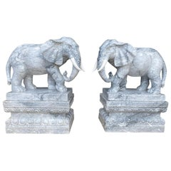 Pair of Marble Elephants on Plinths, 20th Century
