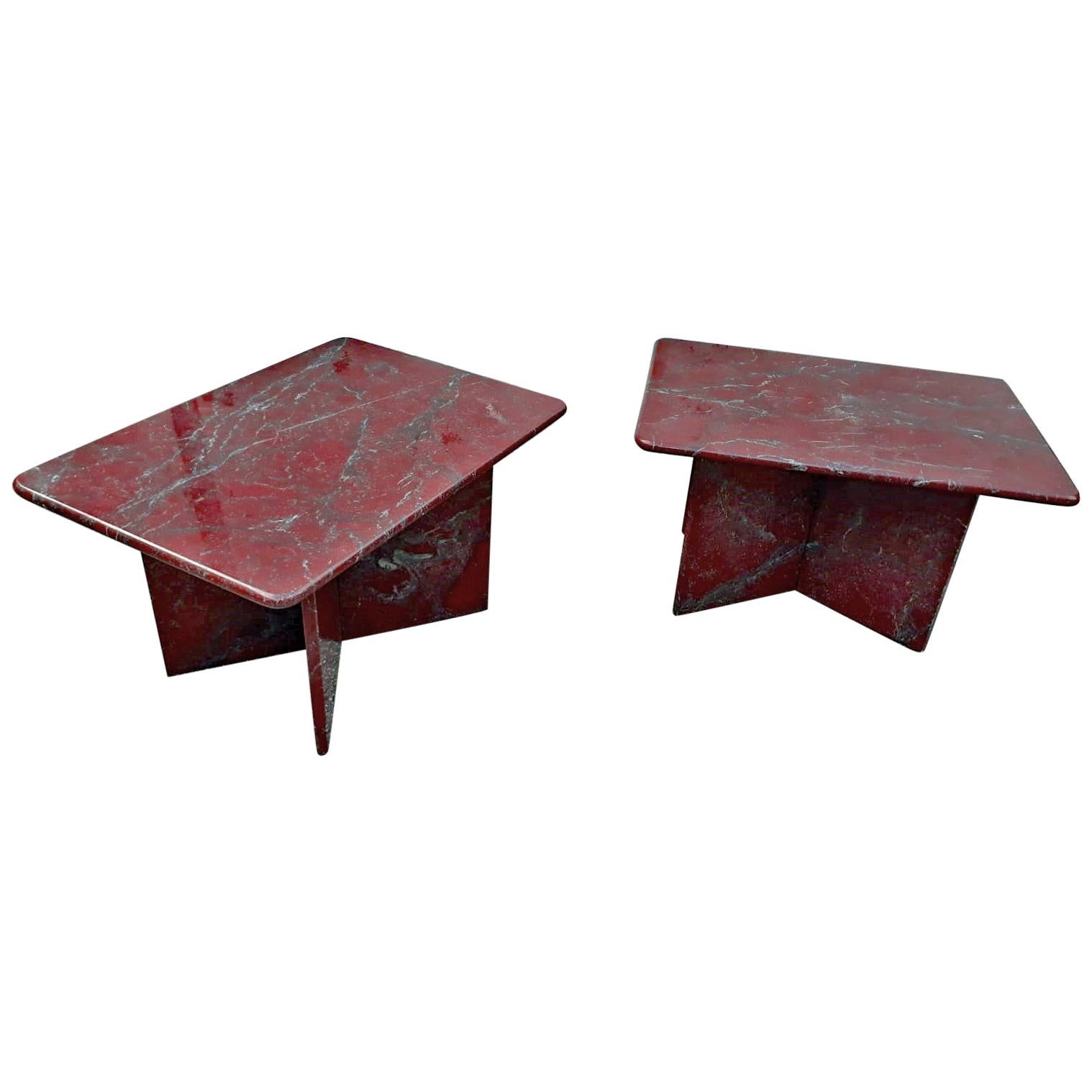 Pair of Marble End Table, circa 1970