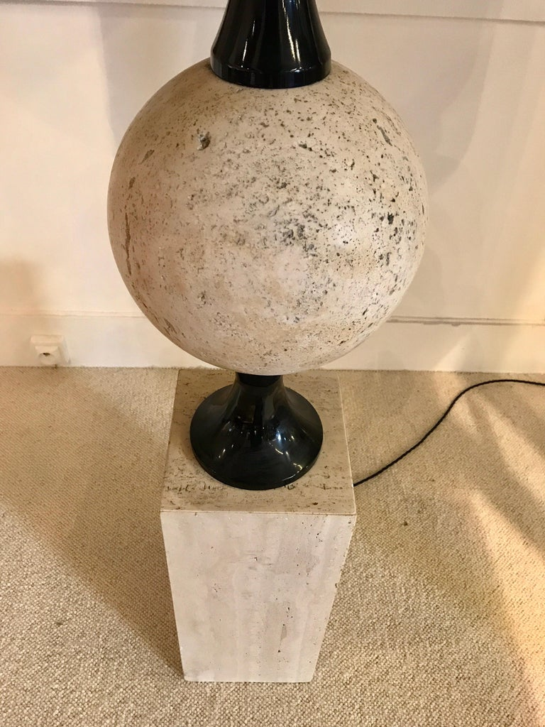 Pair of Marble Floor Lamps by Philippe Barbier For Sale 3