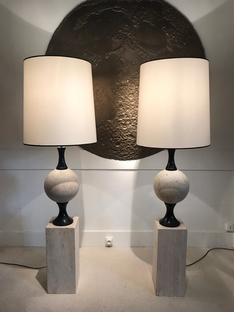 Mid-Century Modern Pair of Marble Floor Lamps by Philippe Barbier For Sale