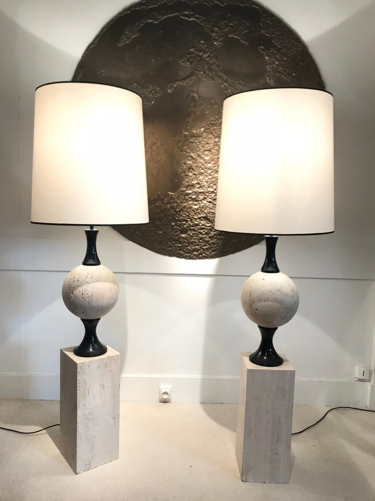 French Pair of Marble Floor Lamps by Philippe Barbier For Sale
