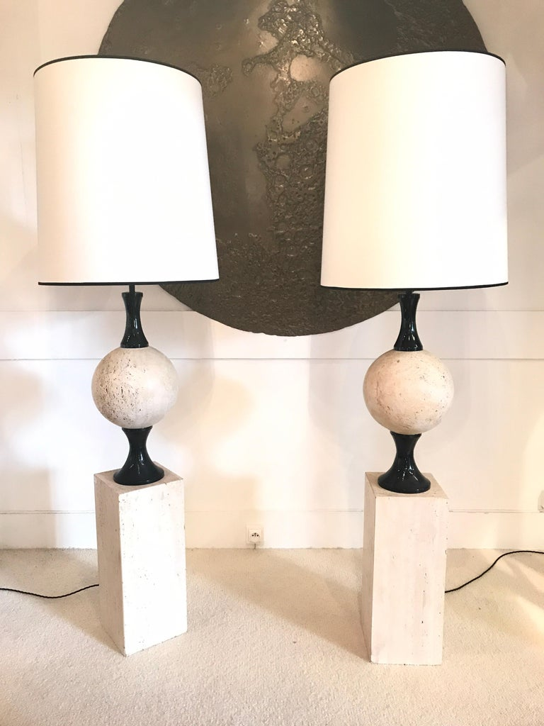 Late 20th Century Pair of Marble Floor Lamps by Philippe Barbier For Sale