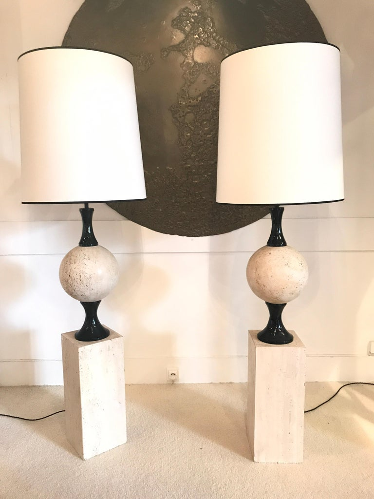 Metal Pair of Marble Floor Lamps by Philippe Barbier For Sale