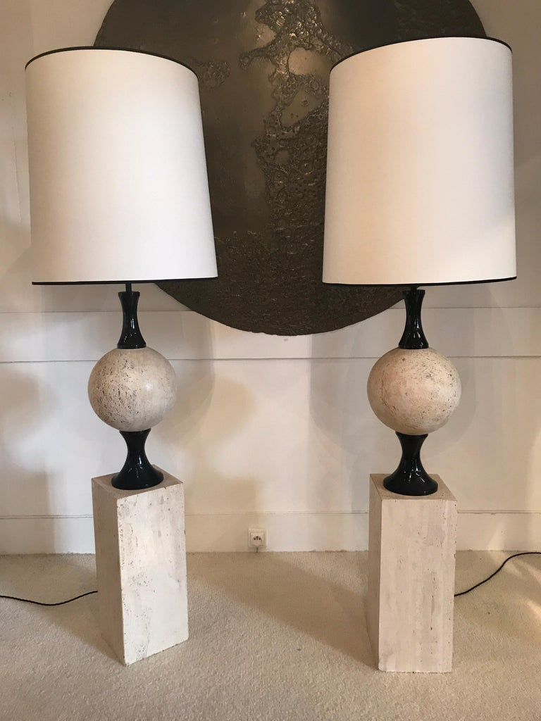 Pair of Marble Floor Lamps by Philippe Barbier For Sale 1