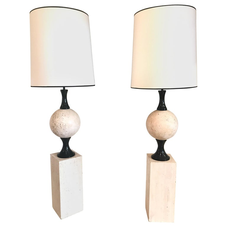 Pair of Marble Floor Lamps by Philippe Barbier For Sale