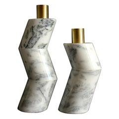 Pair of Marble Ginga Vases by Gustavo Dias