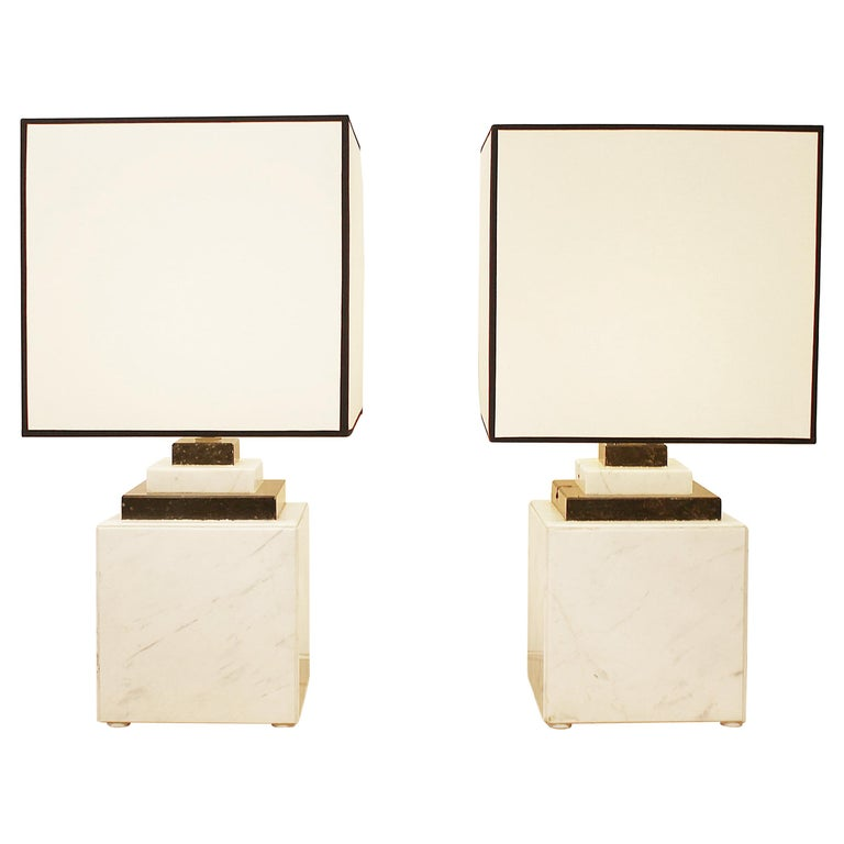 Pair of Marble Lamp, 1980s For Sale