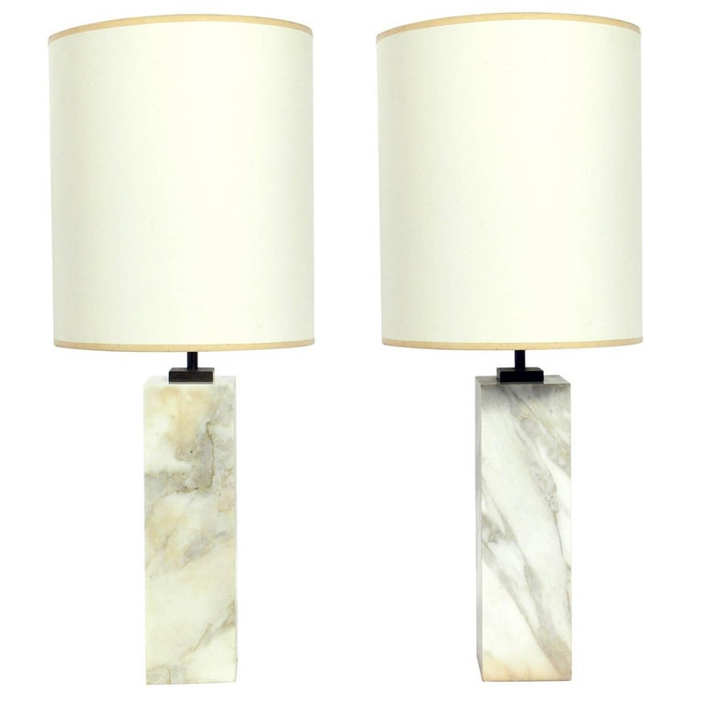 Pair of Marble Lamps by T.H. Robsjohn Gibbings for Hansen