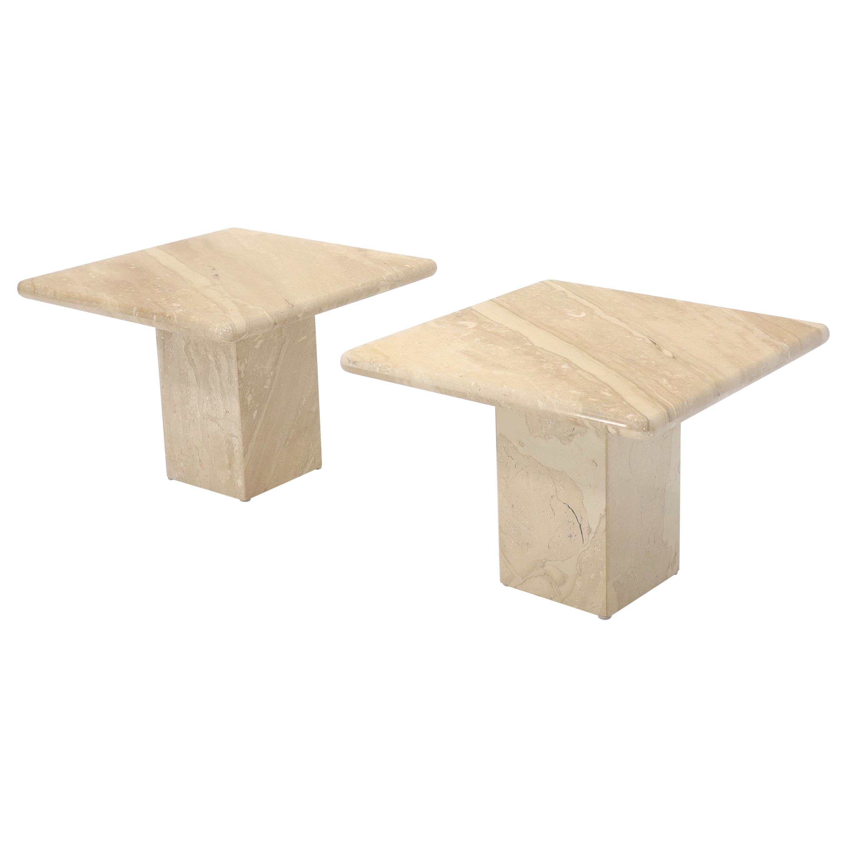 Pair of Marble or Travertine Square Side End Tables
