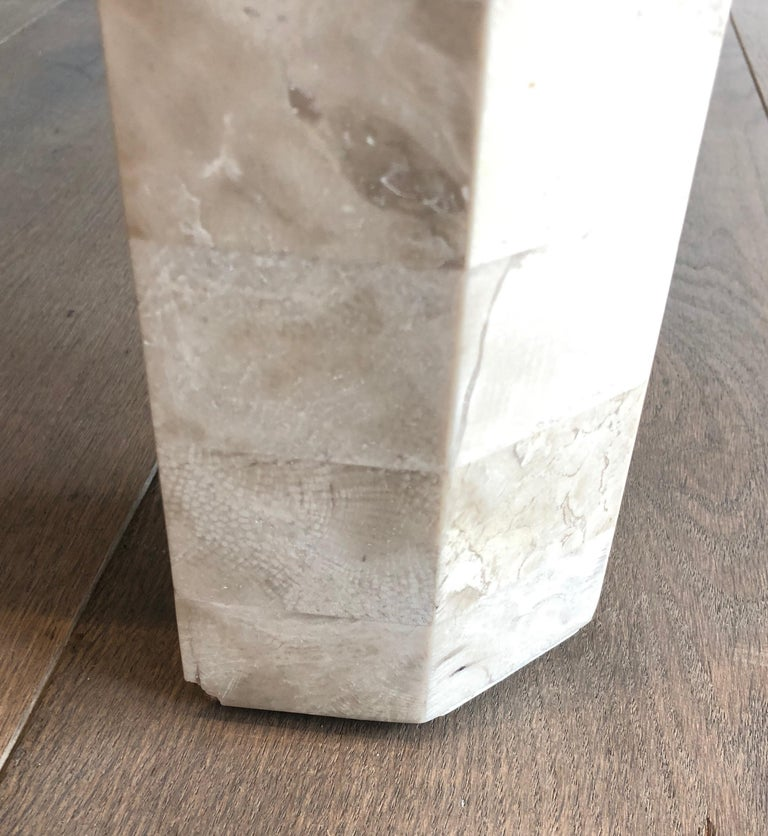 Pair of Marble Plates Side Tables with a Brass Line, French, Circa 1970 For Sale 6
