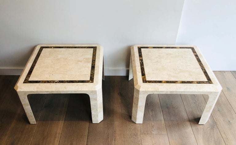 Pair of Marble Plates Side Tables with a Brass Line, French, Circa 1970 For Sale 7