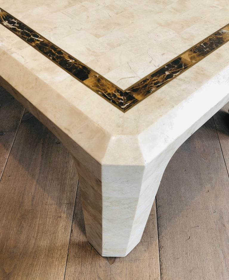 Pair of Marble Plates Side Tables with a Brass Line, French, Circa 1970 For Sale 8